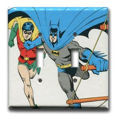 Batman and Robin Double Switch Plate 1980's Vintage by Fondue, $16.00