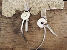 Bear Clan  mismatched earrings  antique bone  by sparrowsalvage, $50.00