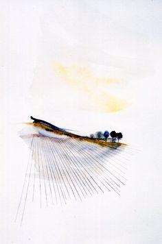 Over the Field - 2001 - watercolour on paper  Louisa Boyd  http://www.facebook.com/louisaboydart