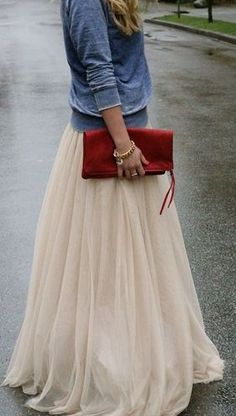 long tulle maxi