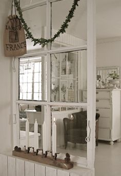 Old windows used as room dividers. (Love this idea!!)