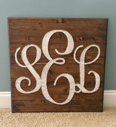 """Initial Monogram String Art:  24""""×24"""" Stained Wood Plaque Featuring Your Initials in Elegant White   https://www.etsy.com/listing/217892381/initial-monogram-string-art-24times24"""