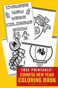 An awesome free printable Chinese New Year Coloring Book! With 30 pages to color, this free printable coloring book is fun for all ages and has lots of great pictures associated with the Chinese New Year! This print at home coloring book is updated every year to include the new Chinese Zodiac animal! Chinese New Year Activities, New Years Activities, Printable Puzzles, Printable Activities For Kids, New Year Printables, Free Printables, Purple Pumpkin, Watercolor Kit, Free Printable Coloring Pages