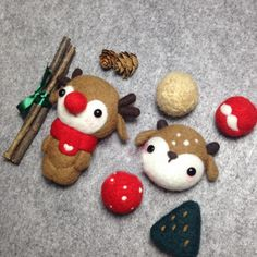 Handmade needle felted felting cute animal project reindeer doll Christmas toy