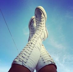 My collection of knee high converse mostly white knee high