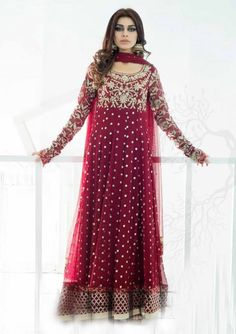 Buy Deep Red Embroidered Anarkali Frock Crinkle Chiffon Evening Party Dress by PakRobe.com