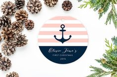 Personalized Christmas Ornament Anchor von MooseberryPaperCo