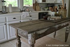 Farmhouse table in the kitchen