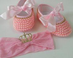 Sapatinho Princesa com pérolas rosa