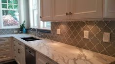 Taupe Arabesque Glass Mosaic Tiles
