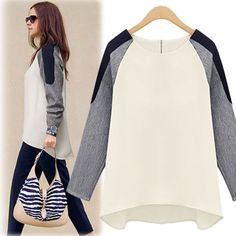 New European Style Womens Patchwork Irregular Hit Color Long Sleeve Loose Sweatershirts