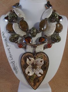 Cowgirl Necklace Set Western Statement - Chunky White and Brown Howlite Turquoise - Dogwood Heart - pinned by pin4etsy.com