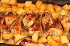 Ingredientes (frango): pernas de frango (eu usei 11) 1 colher de sobremesa de alho em pó 1 colher de sopa de pimentão doce 1 colher de ...