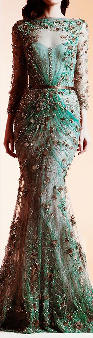 Ziad Nakad Haute Couture Spring/Summer 2014  Beautiflul couture dress, in a emerald green colour and bronze looking detaild...