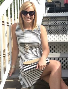 This Black and White Striped Dress is the best find ever! It's so flattering and beyond comfortable #blackandwhitedress #summerstyle #fashion #yegblogger #fourboutique