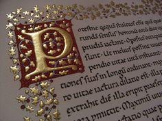 Calligrafia in Carolina minuscola con capolettera miniata - Italian Caroline minuscule with illuminated initial and border