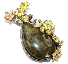 $85.95 Amazing! Fire Labradorite Two Tones Sterling Silver Pendant at www.SilverRushStyle.com #pendant #handmade #jewelry #silver #labradorite