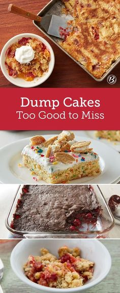 Baking something sweet doesn't have to be tricky! These dump dessert recipes only need a few ingredients to make a delicious treat. (two ingredient pancakes cake mixes) Dump Cake Recipes, Baking Recipes, Dessert Recipes, Baking Ideas, Dessert Simple, Poke Cakes, Cupcakes, Cupcake Cakes, Yummy Treats