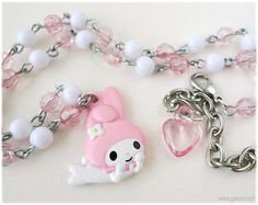 My Melody Necklace, Pink and White Beaded Chain in Silver Tone - Kawaii Jewelry