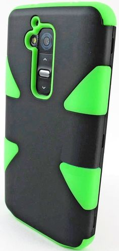 Amazon.com: myLife Wasabi Green/Black {Dual-Colored Hard Shell Design} 3 Piece Neo Hybrid Case for the for the LG G2 Smartphone (External Ru...