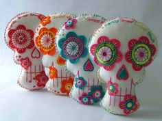 Embroidered Sugar Skull Day of the Dead Decoration. $30.00, via Etsy.