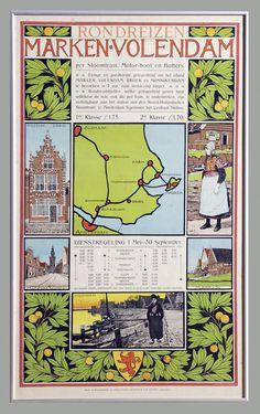 Affiche 'Rondreizen Marken Volendam per stoomtram,Motor-boot en botters 1910 #NoordHolland #Marken #Volendam