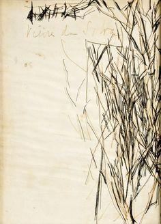 """MARIA HELENA VIEIRA DA SILVA (1908-1992 ). Designação """"Sem título"""" / Tinta-da-China sobre papel"""