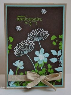 handmade card ... black base ... Summer Silhouettes flowers stamped in light colors ... luv this look!!! ...Stampin' Up!