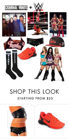 """""""Mocking Nikki Bella before my match with Brie (and having the team at ringside seats)"""" by thatwwefangirl ❤ liked on Polyvore featuring NIKE"""