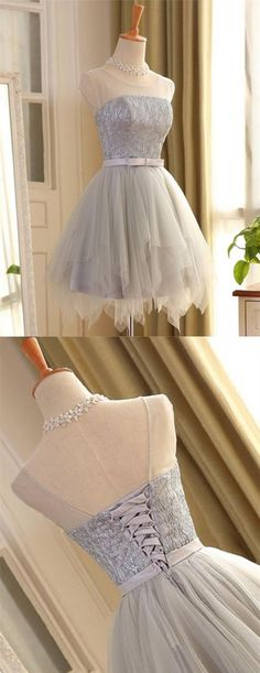 Cute A Line Sleeveless Scoop Short Silver Lace up Tulle Homecoming Dresses with Bowknot, Shop plus-sized prom dresses for curvy figures and plus-size party dresses. Ball gowns for prom in plus sizes and short plus-sized prom dresses for Lace Homecoming Dresses, Hoco Dresses, Ball Dresses, Dress Outfits, Ball Gowns, Evening Dresses, Fashion Dresses, Dress Prom, Prom Gowns