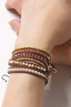 Cream Pearl Wrap Bracelet on Leather Cream Pearl von TalulahLee