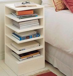 bedside bookshelf this is a must in every room in my house lol Home Bedroom, Bedroom Decor, Bedrooms, Bedroom Storage, Master Bedroom, Bedside Storage, Bedroom Table, Master Suite, Diy Furniture