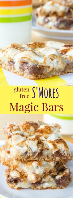 Gluten Free S'Mores Magic Bars - combine two favorite dessert recipes into one gooey treat filled with chocolate and marshmallows. And the mock flourless graham cracker crust is so easy! | cupcakesandkalech...