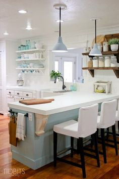 Cottage tour - love the open shelves in the kitchen kellyelko.com