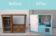 Old side board made into a little girls kitchen/ fridge.