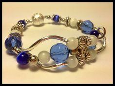 Armband Katzenauge Blau Weiß Bracelet Jewelry