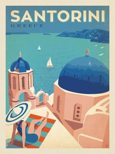 Anderson Design Group – World Travel – Greece: Santorini Santorini Travel, Santorini Greece, Greece Travel, Crete Greece, Athens Greece, Spain Travel, City Poster, Photo Vintage, Travel Illustration