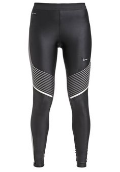 Collants de running Nike Performance POWER SPEED - Collants - black/white/reflective  silver