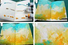 Art journal inspiration.  Original pinner sez: Art Journal pages, inspiration and ideas for keeping an art journal or a midori travel journal, notebook, or scrapbook