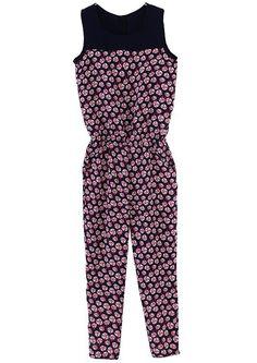 #SheInside Dark Blue Sleeveless Floral Chiffon Jumpsuit - Sheinside.com