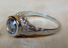 Vintage Antique .75ct Blue Sapphire Unheated Rose Cut 18k White Gold Aternative Engagement Ring 1920's Art Deco Filigree