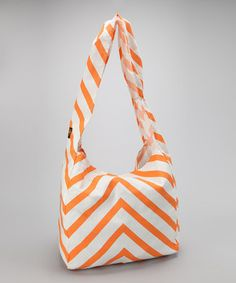 Take a look at this Apricot & White Mitered Stripe Tote by Vine Street Market, USA on #zulily today!
