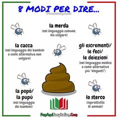 🔴I NOMI DELLA 💩💩💩 ⏩Sì, lo s Italian Grammar, Italian Vocabulary, Italian Words, Italian Quotes, Spanish Vocabulary, Grammar And Vocabulary, Italian Language, Italian People, European Languages