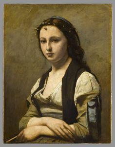 Camille COROT - La Femme à la perle - Vers 1868 - 1870 ? - Louvre (pastiche de la Joconde, // portraits de Raphaël + réf à Vermeer)