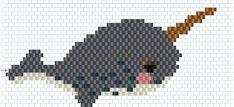/DIY-broche-tissage-brick-stitch-motif-narval-licorne-des-mers-tissu-paillete-diagramme Fish Patterns, Peyote Patterns, Beading Patterns, Stitch Patterns, Hama Beads, Miyuki Beads, Beading Needles, Loom Beading, Peyote Stitch