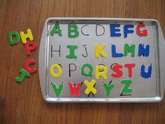 Write the alphabet on any metal tray to create a matching educational activity with magnet letters or numbers.