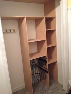 Grab boards from Home Depot. Her kitchen storage idea is so clever!