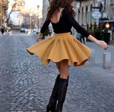 Burst of yellow; full skirt