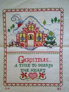 Completed cross stitch  Christmas Cottage by SweetDreamsbySarah, $20.00/ this looks so familiar ...