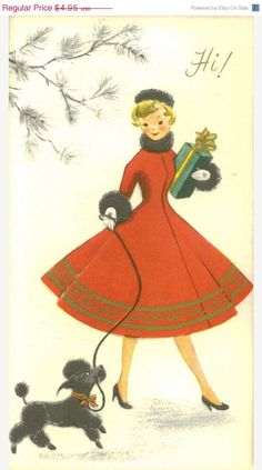 Love the poodles! Between the black Scotty and these black Poodles. there is oodles of these vintage holiday images out there . Vintage Christmas Images, Retro Christmas, Vintage Holiday, Christmas Pictures, Christmas Girls, Christmas Dresses, Black Christmas, Vintage Greeting Cards, Christmas Greeting Cards